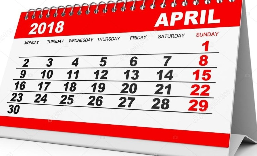 Calendar 2018 April