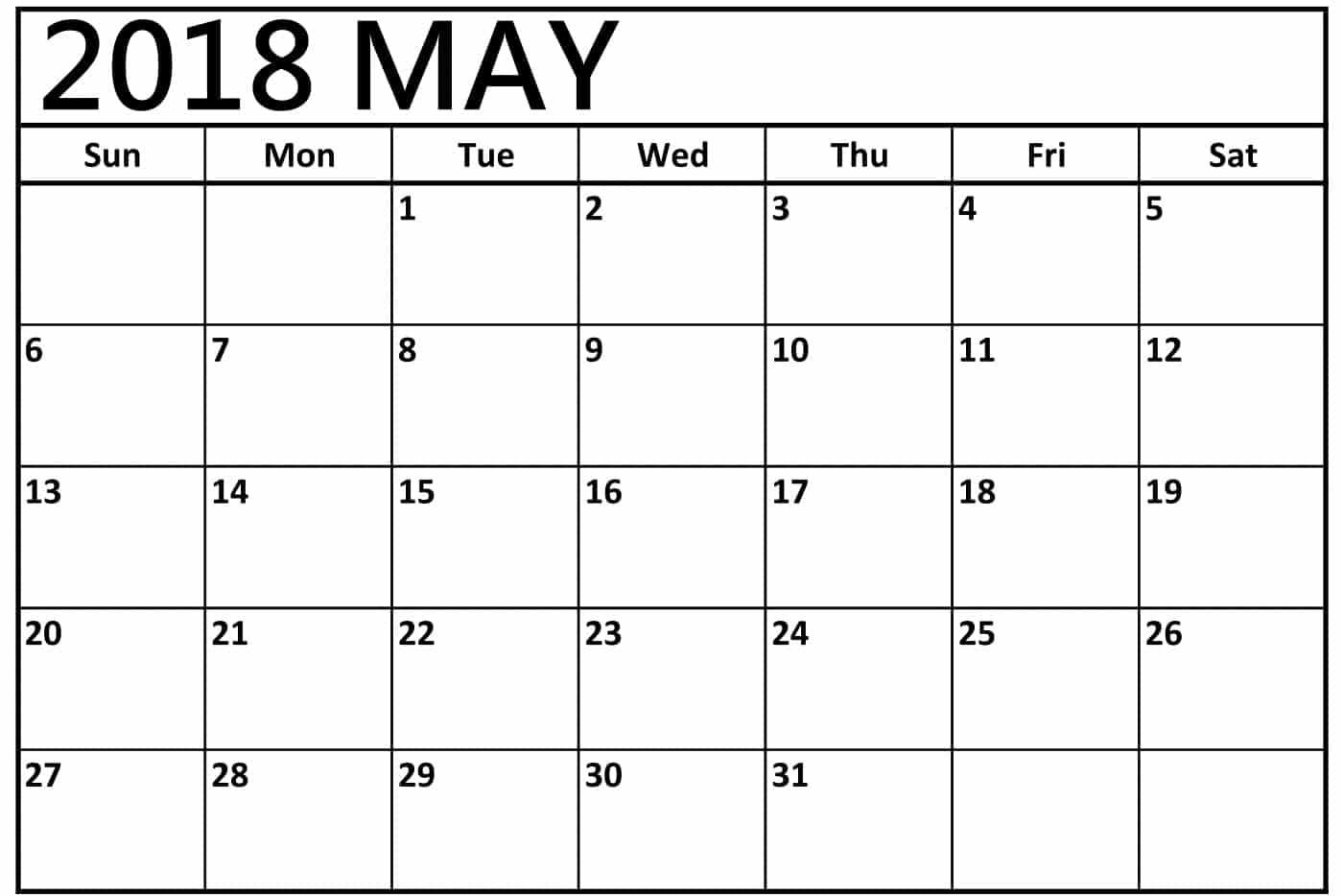 May 2018 Calendar Printable