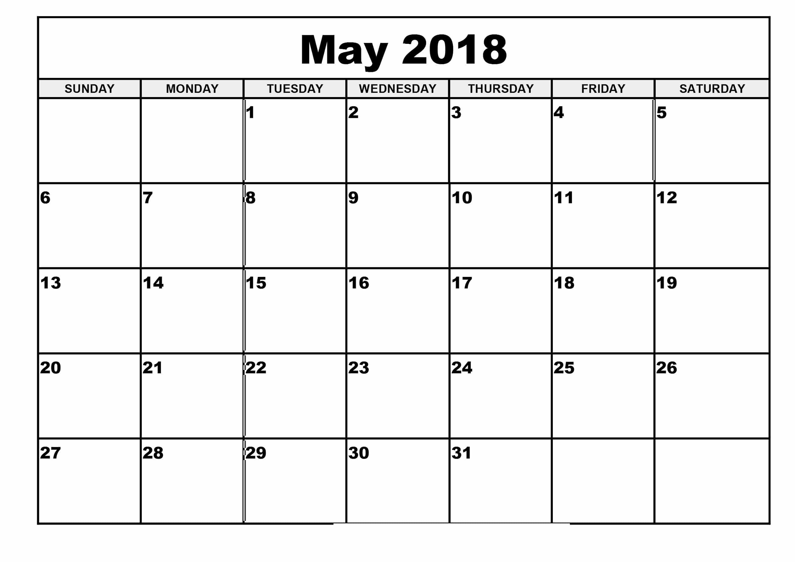 May 2018 Calendar Printable Waterproof - Free HD Images