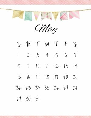 May 2018 Calendar Template