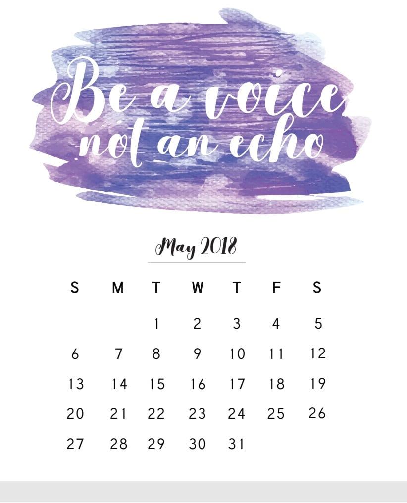 May Calendar 2018
