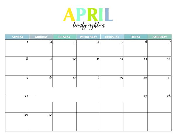 Printable Calendar 2018