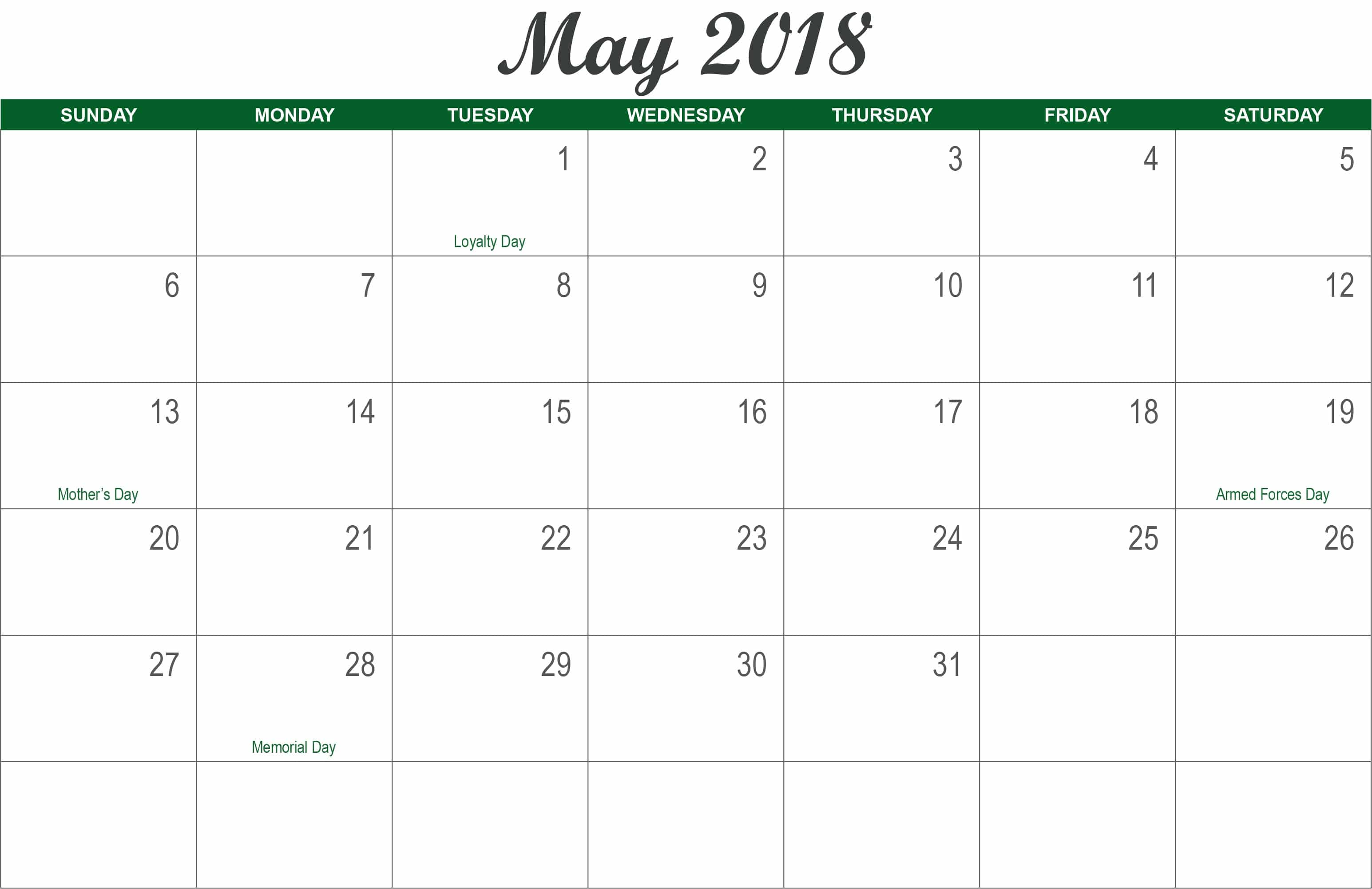 Printable May 2018 Calendar