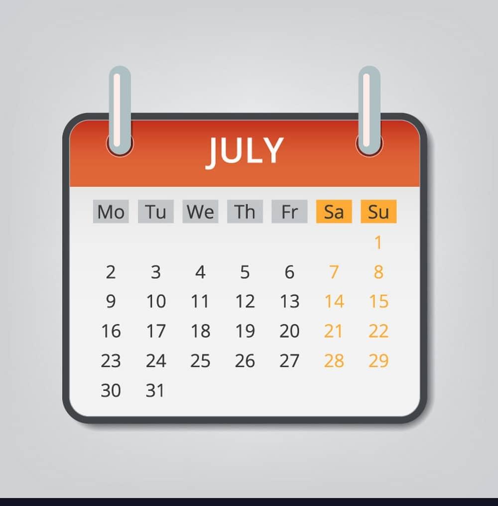 2018 July Calendar