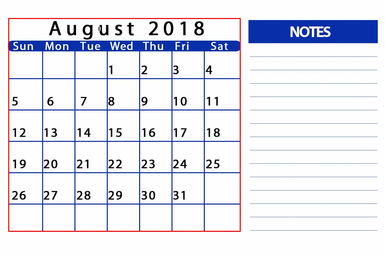 August 2018 Calendar With Holidays