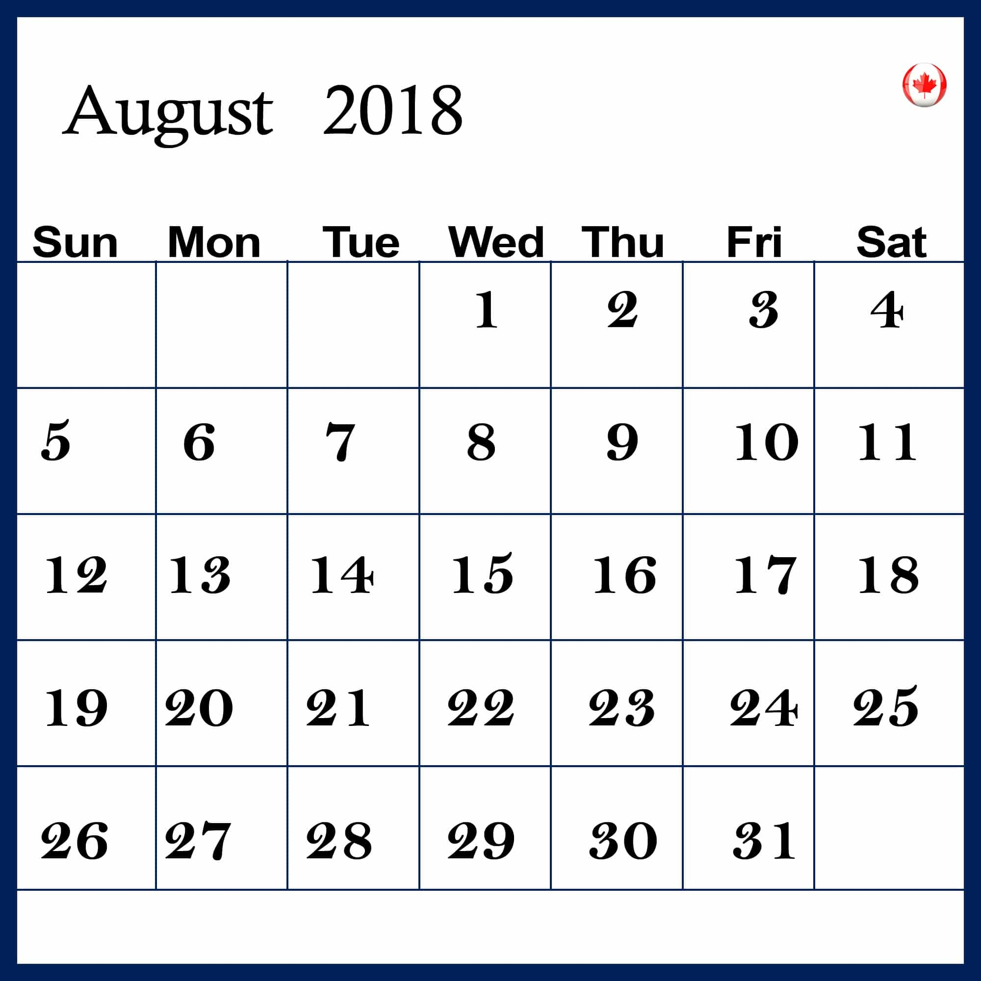 August 2018 Calendar With Holidays