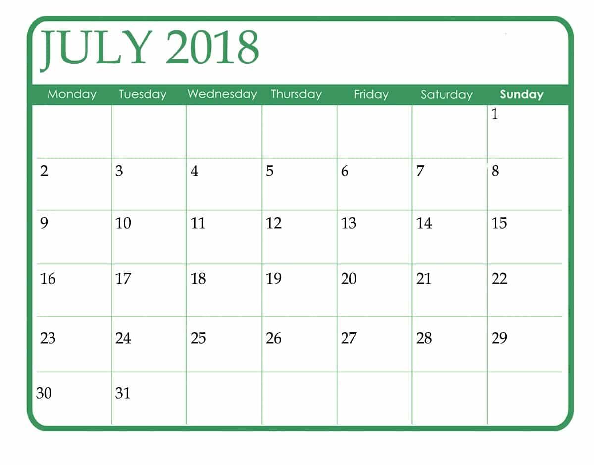 Blank Calendar July 2018