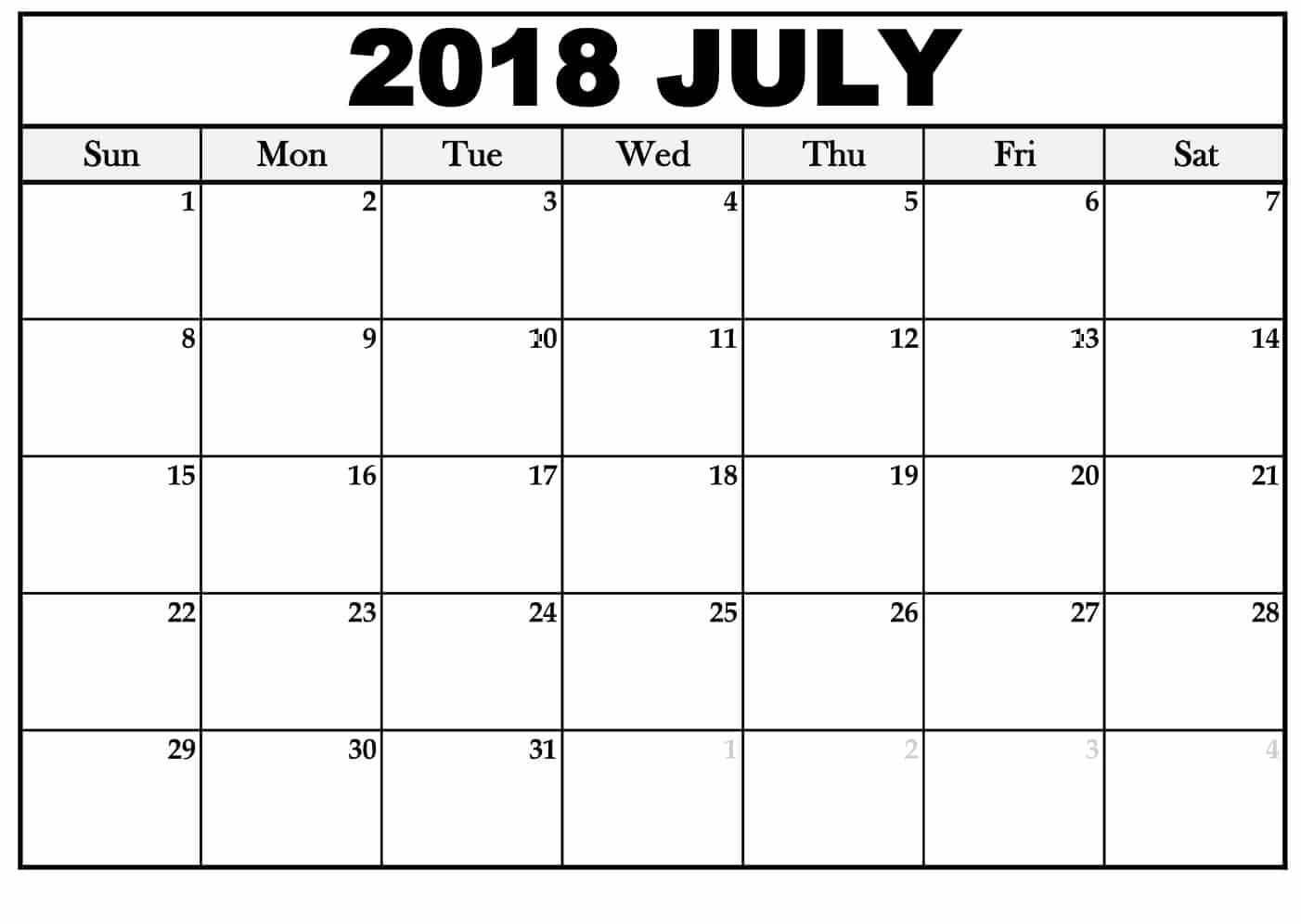 Calendar July 2018