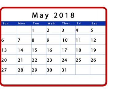 Blank Calendar May 2018