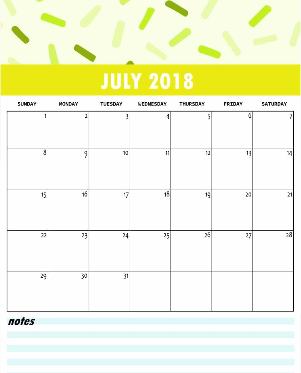 Blank July 2018 Calendar