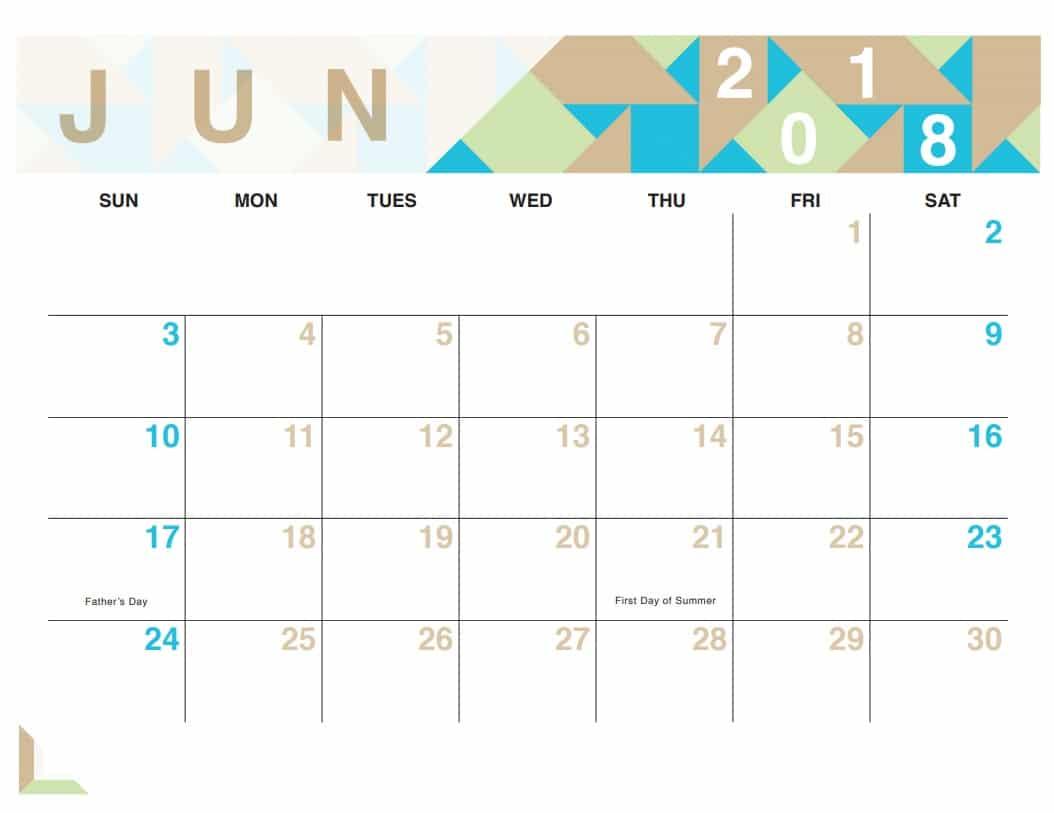 Blank June 2018 Calendar