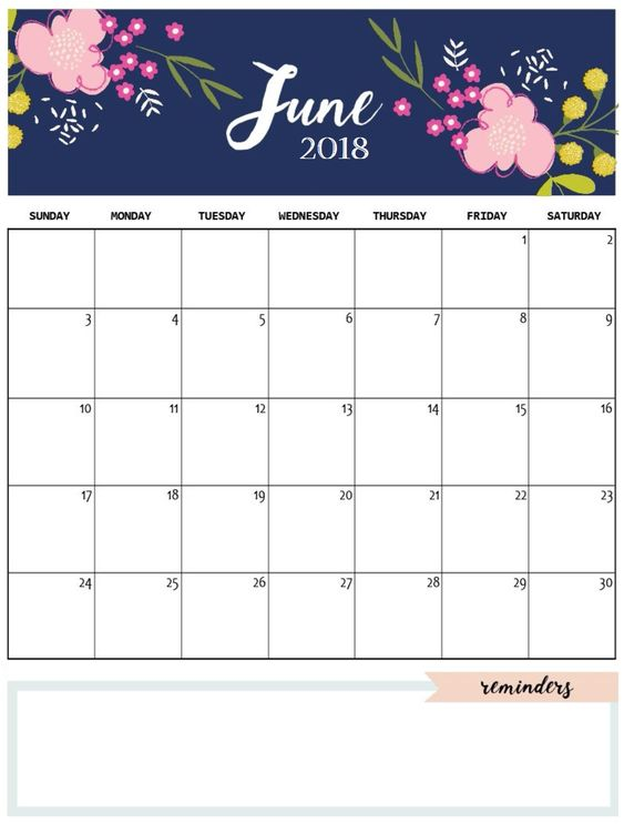 Blank June 2018 Monthly Calendar