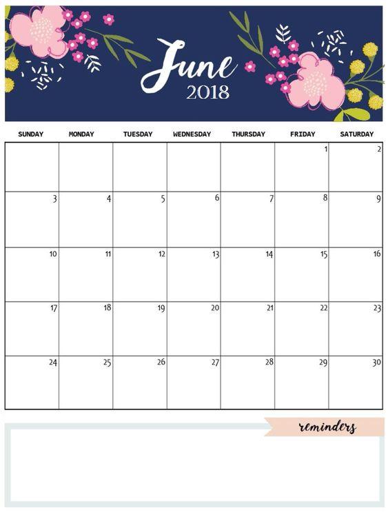 Blank June 2018 Monthly Calendar