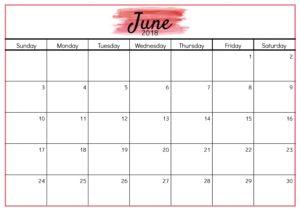Calendar 2018 June