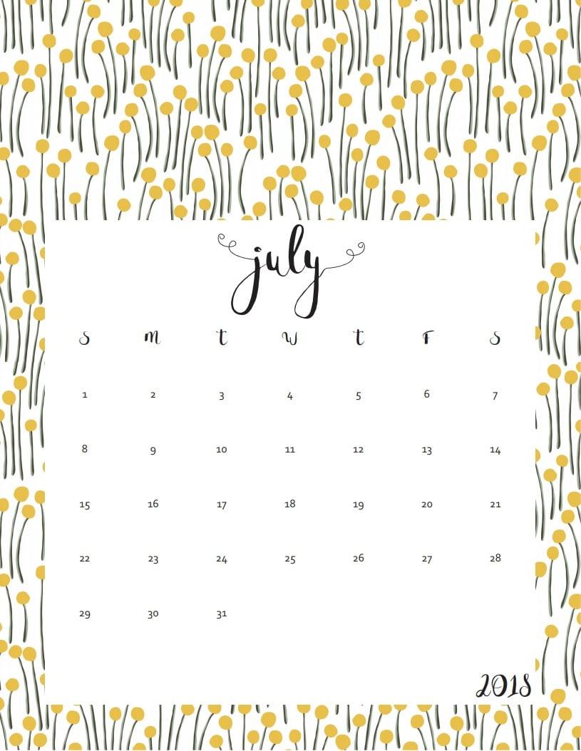 Printable July 2018 Calendar