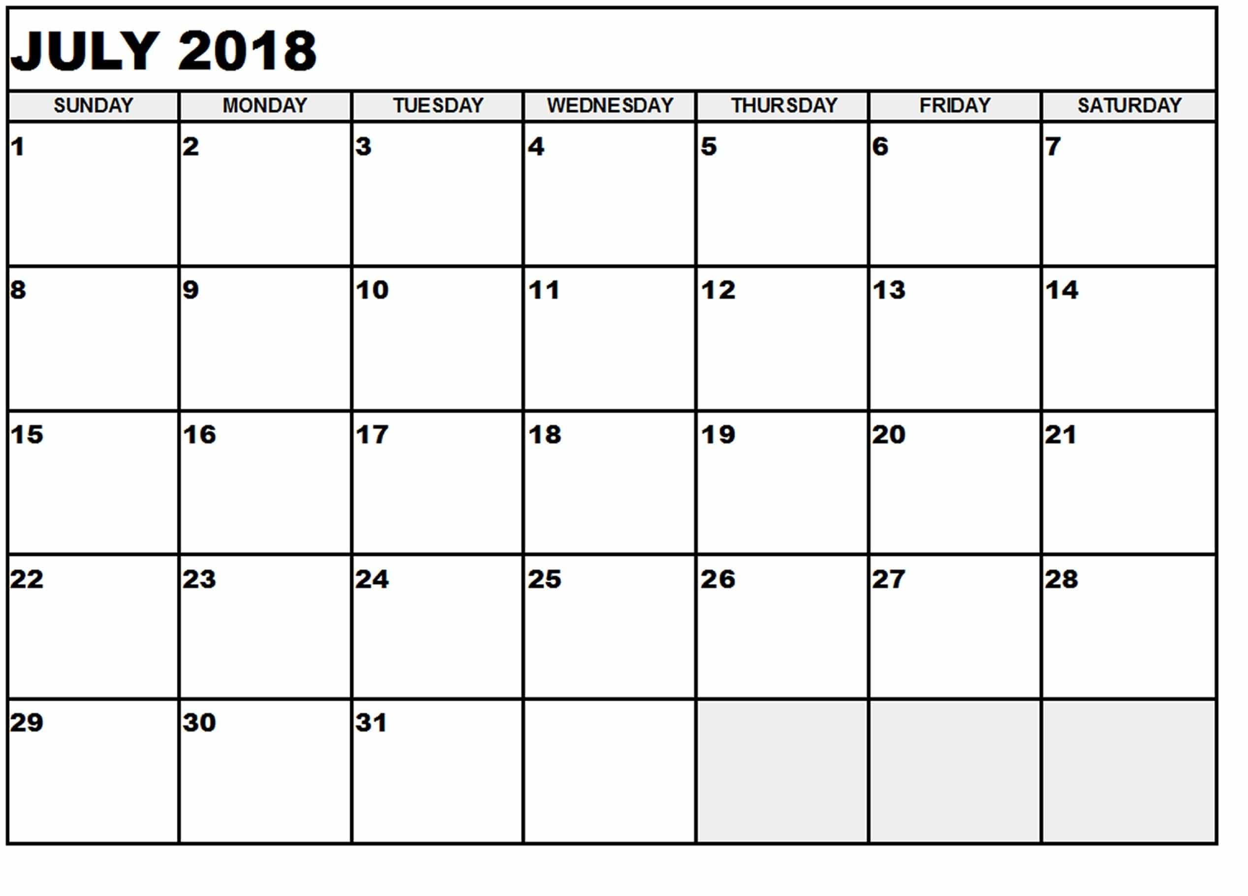July Calendar 2018