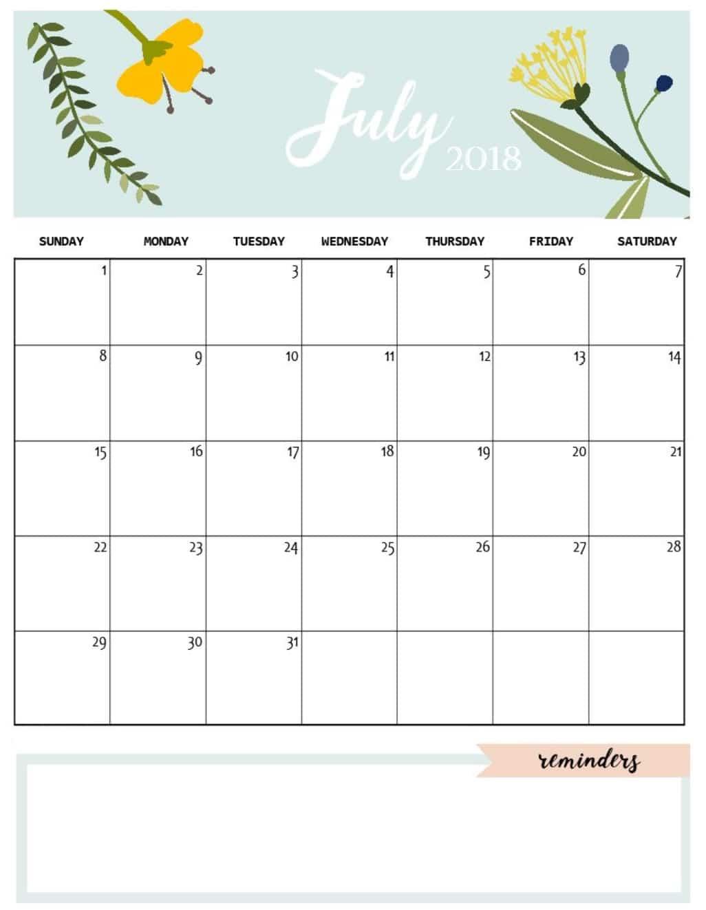 July 2018 Calendar Template