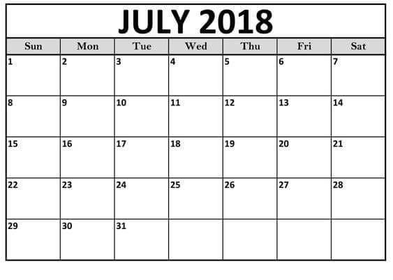 July 2018 Calendar Template Table Free Hd Images