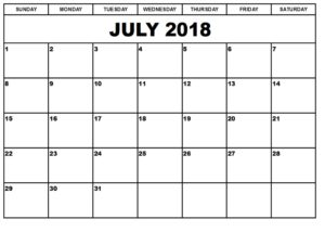 July 2018 Monthly Calendar