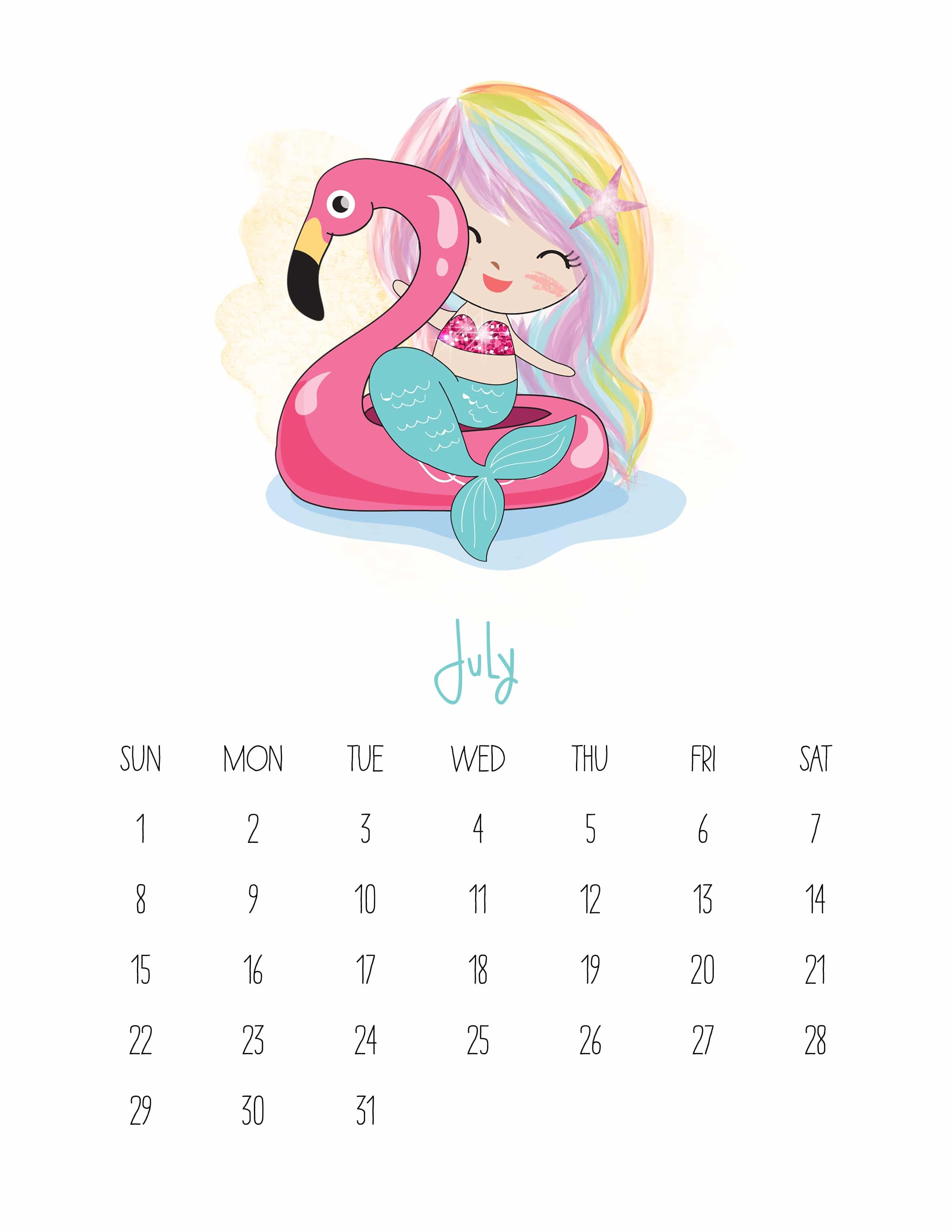 July 2018 Monthly Calendar