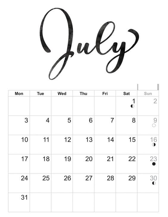 july calendar 2018 printable