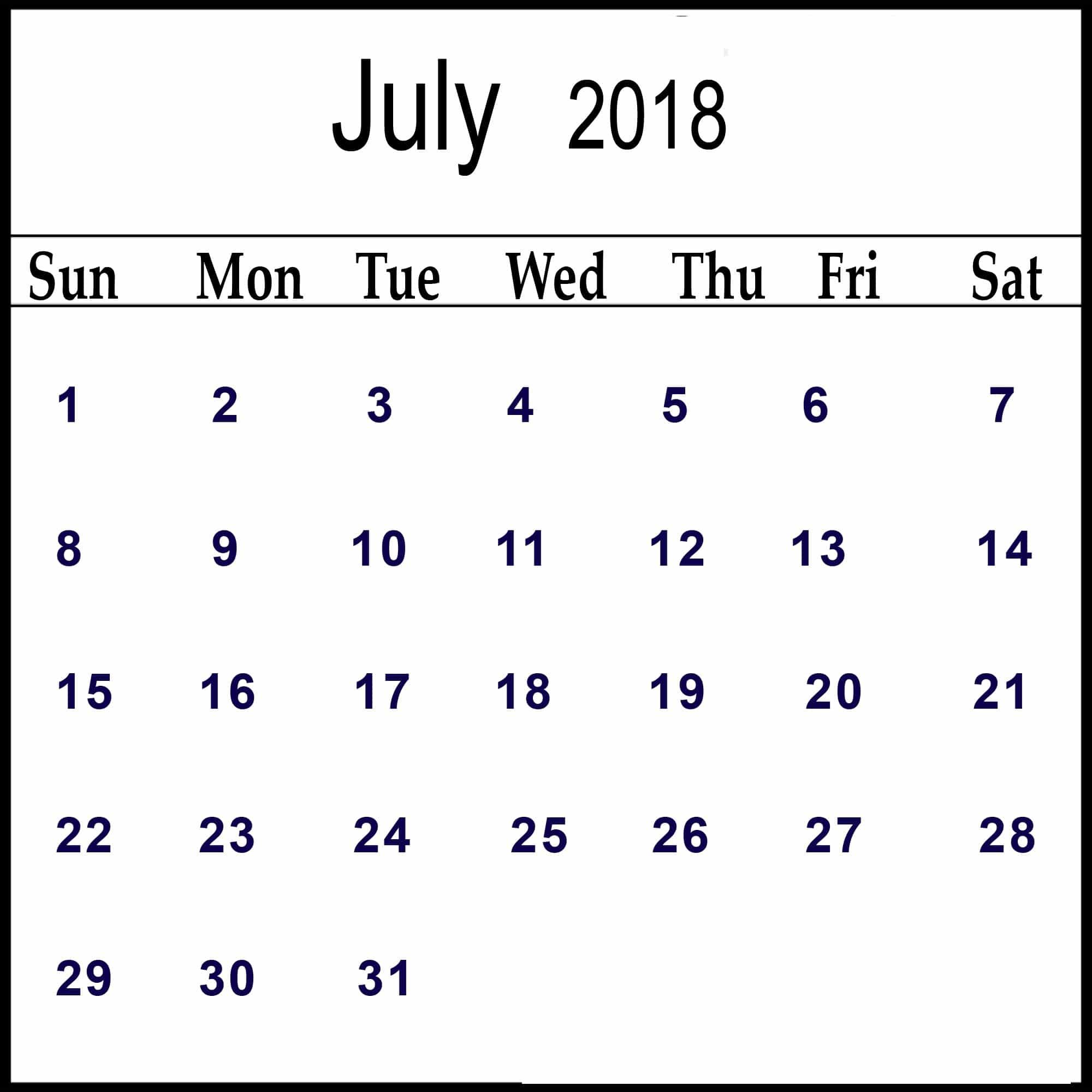 July 2018 Printable Calendar