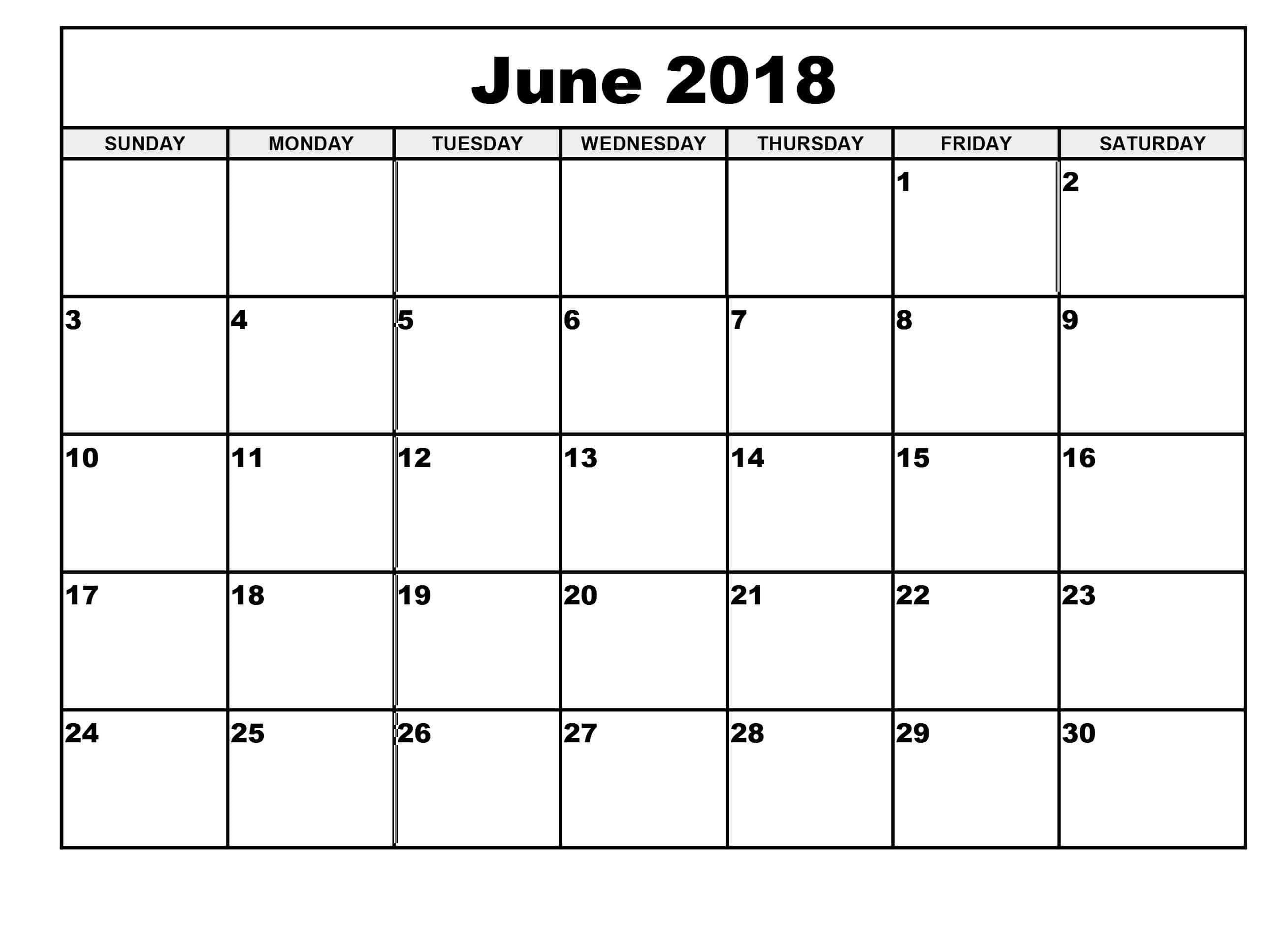 June 2018 Calendar Printable