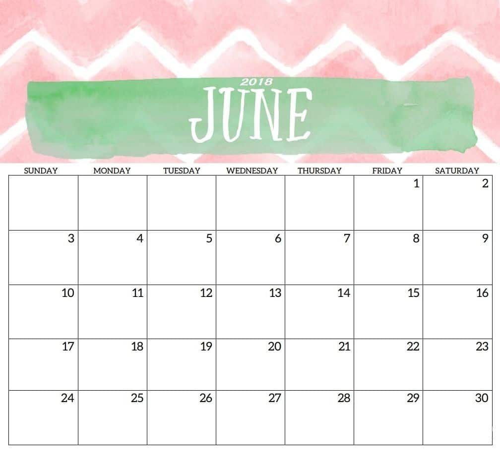 June 2018 Calendar Printable Word And Excel Format - Free HD Images