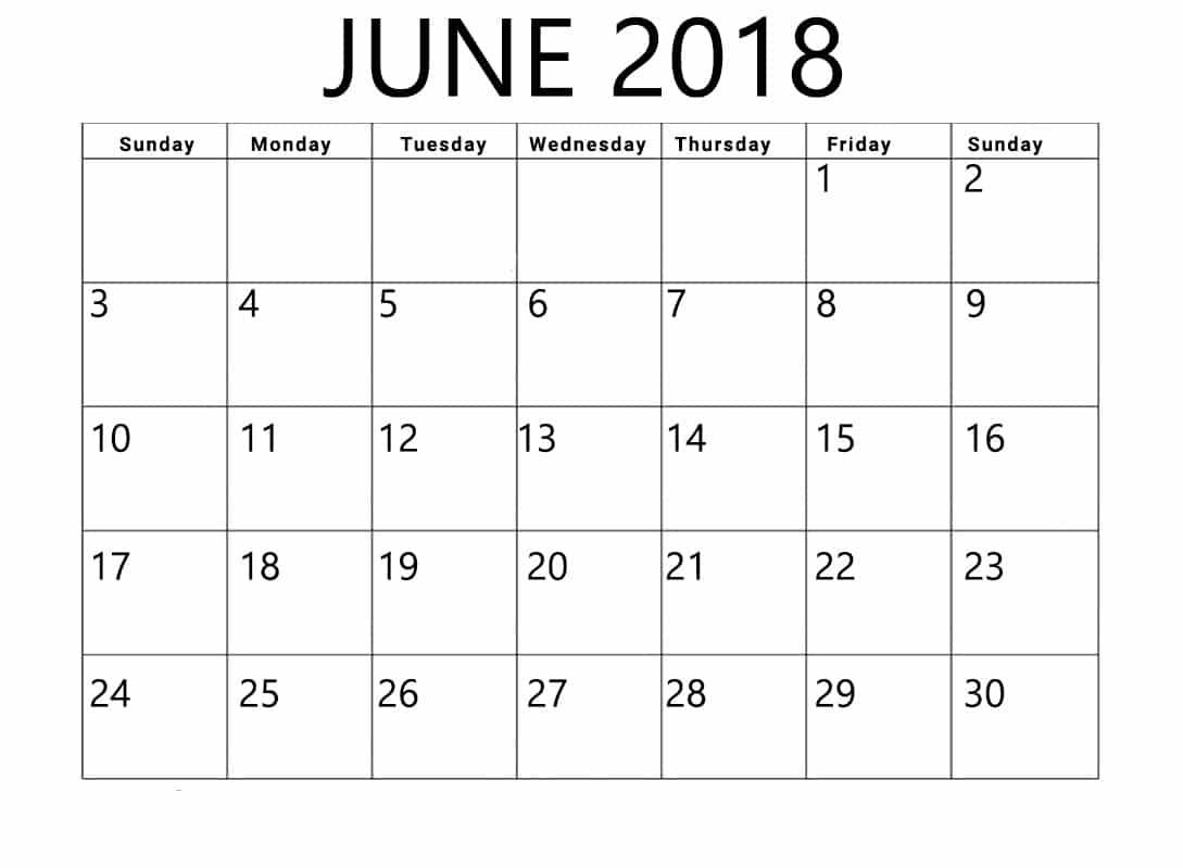 June 2018 Calendar Template