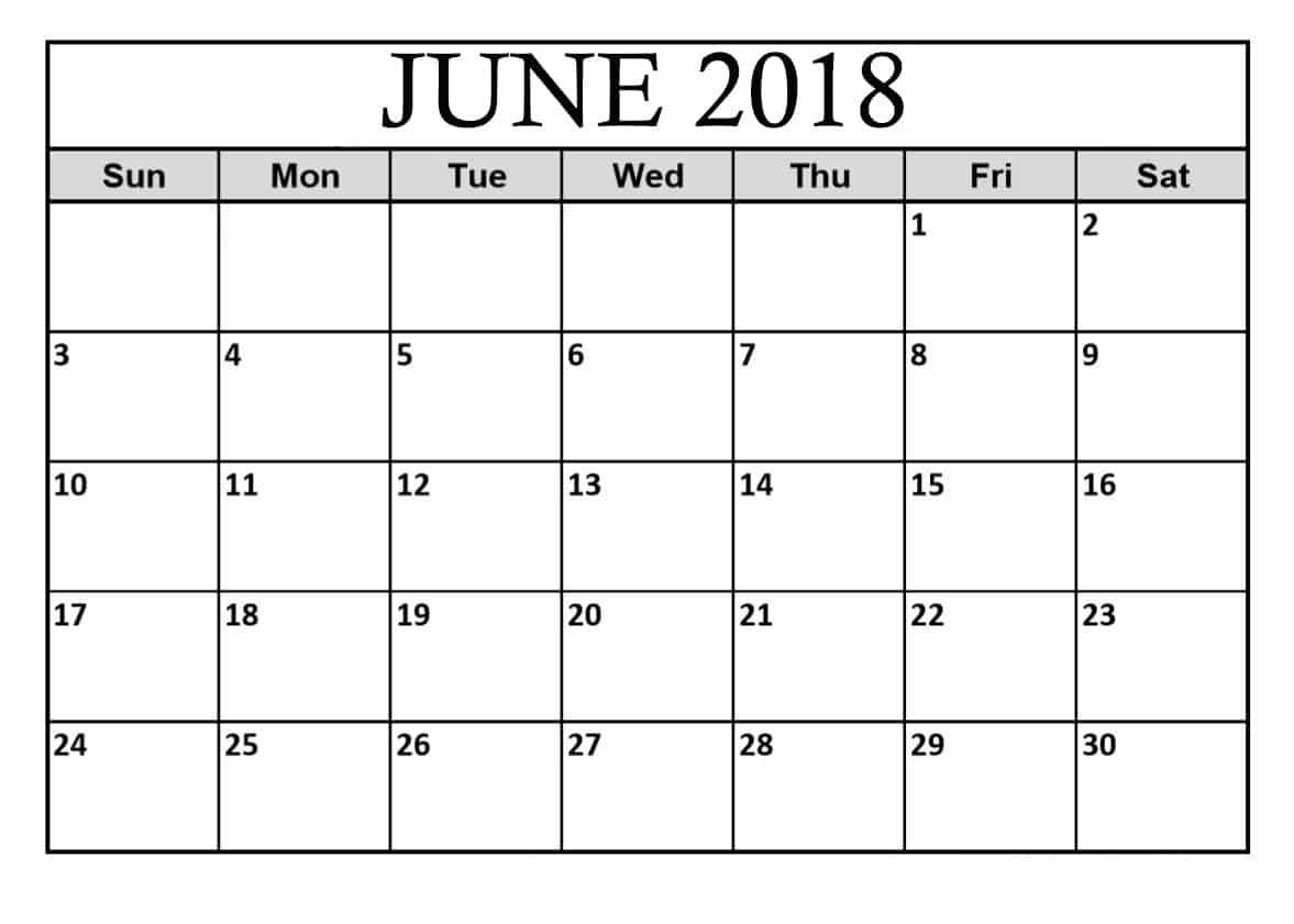 June 2018 Calendar