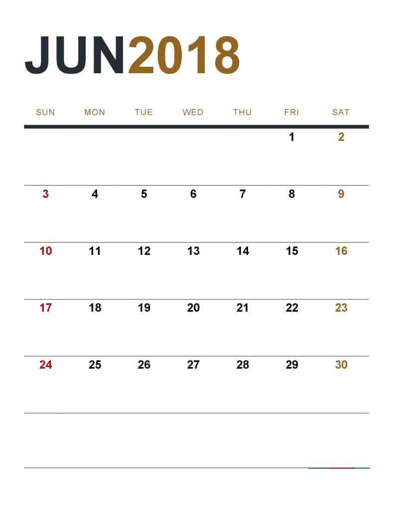 June 2018 Calendar With Holidays