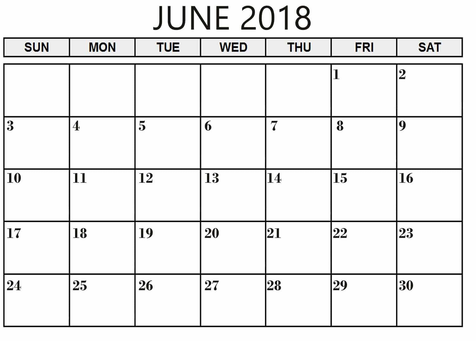 June Calendar 2018 Printable