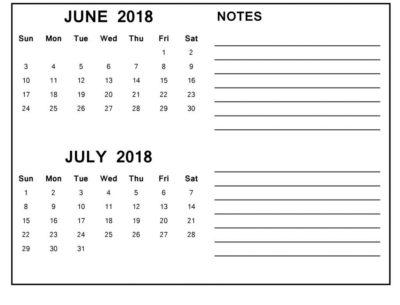 June July 2018 Calendar
