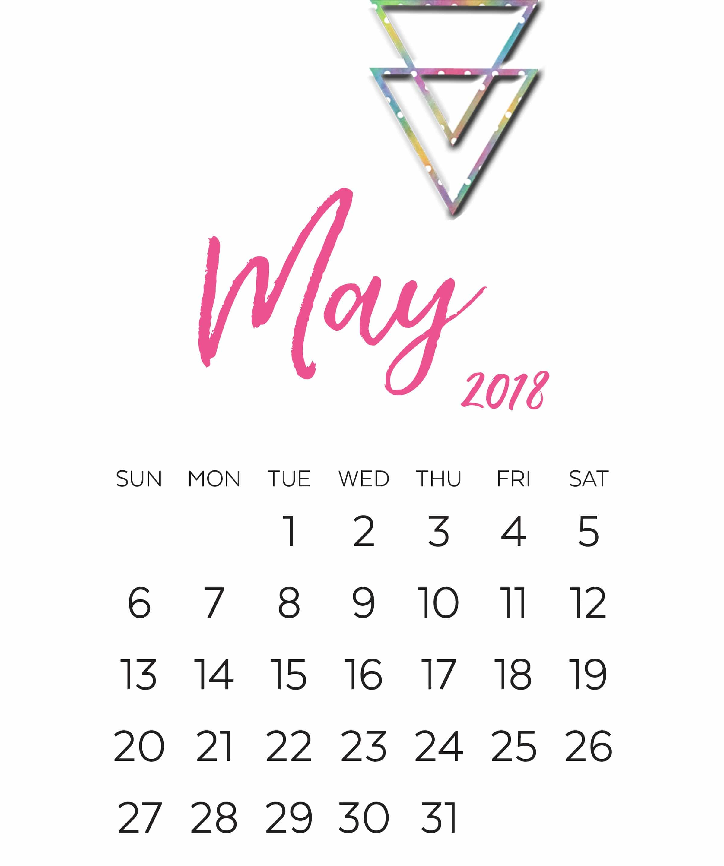 May 2018 Monthly Calendars