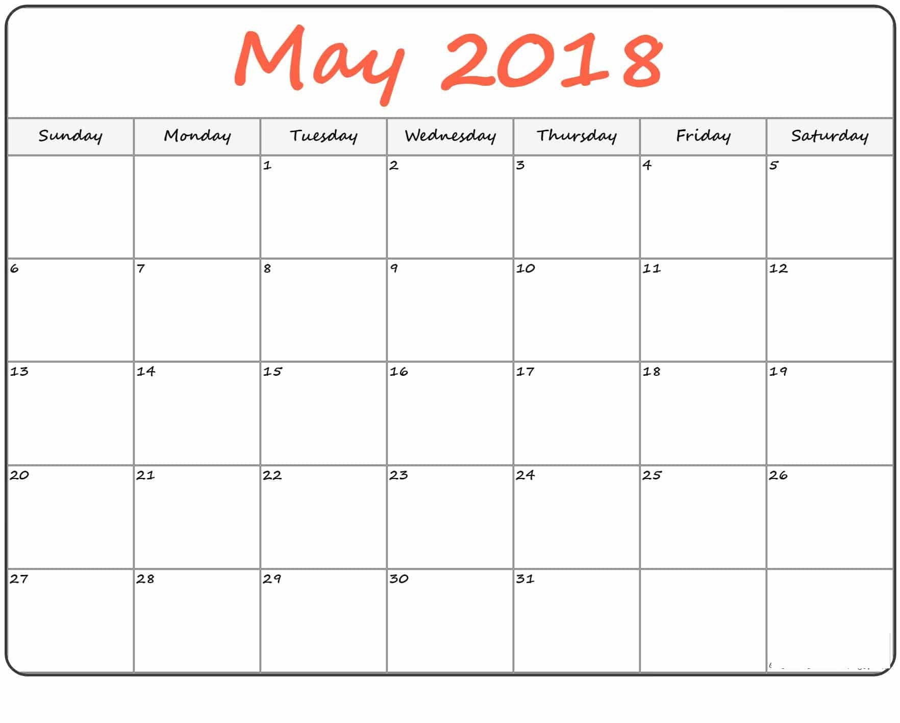 may 2018 printable calendar pdf