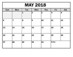 May Calendar 2018 Printable