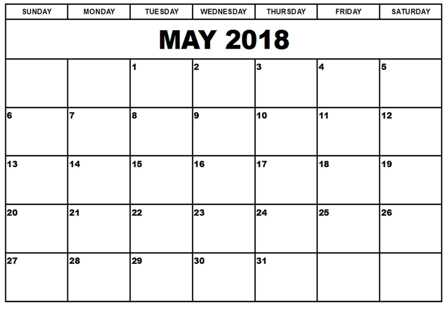 may excel calendar 2018