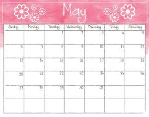 May Calendar 2018 Template