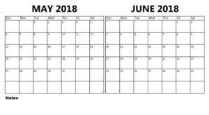 May June 2018 Calendar