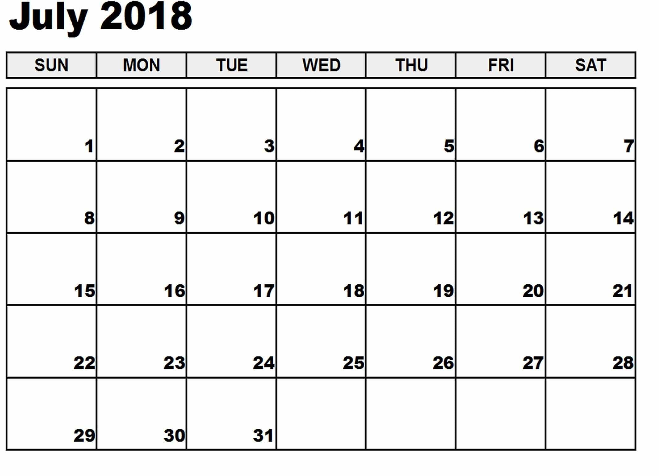 July 2018 Calendar Calendar 2017 Printable Throughout Printable