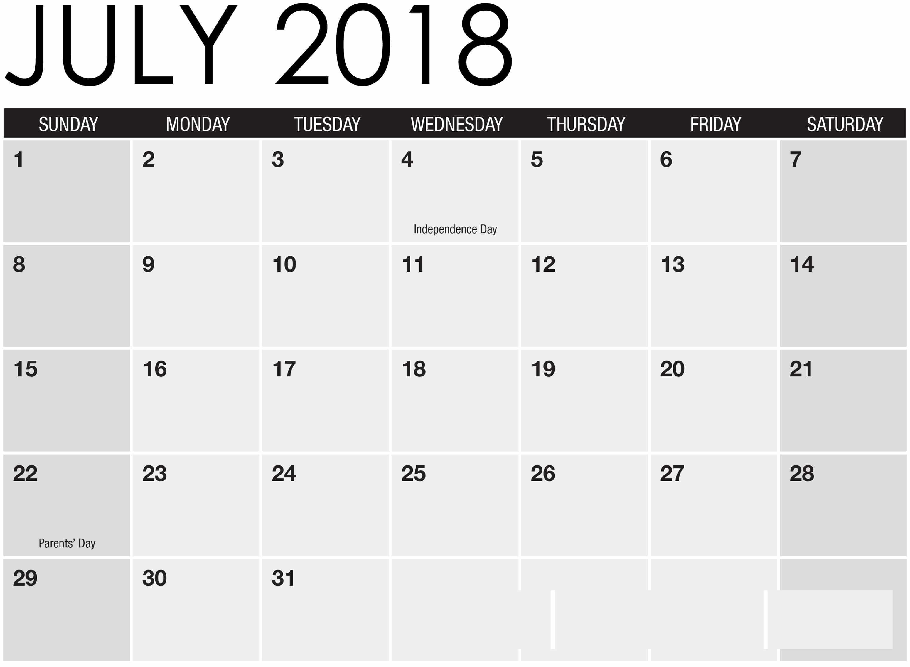 photograph regarding Calendar July Printable named Printable Calendar July 2018 Term Excel Quotation Shots High definition Totally free