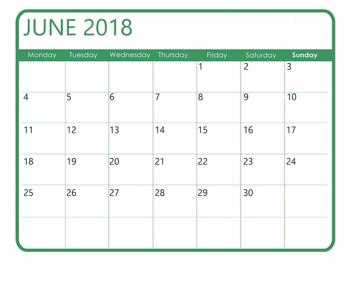 Printable Calendar June 2018