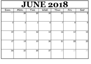 Printable June 2018 Calendar