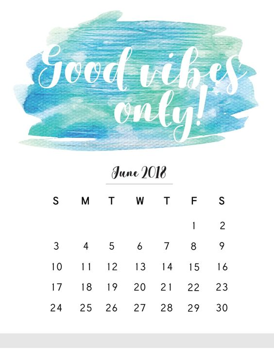 June 2018 Monthly Calendar