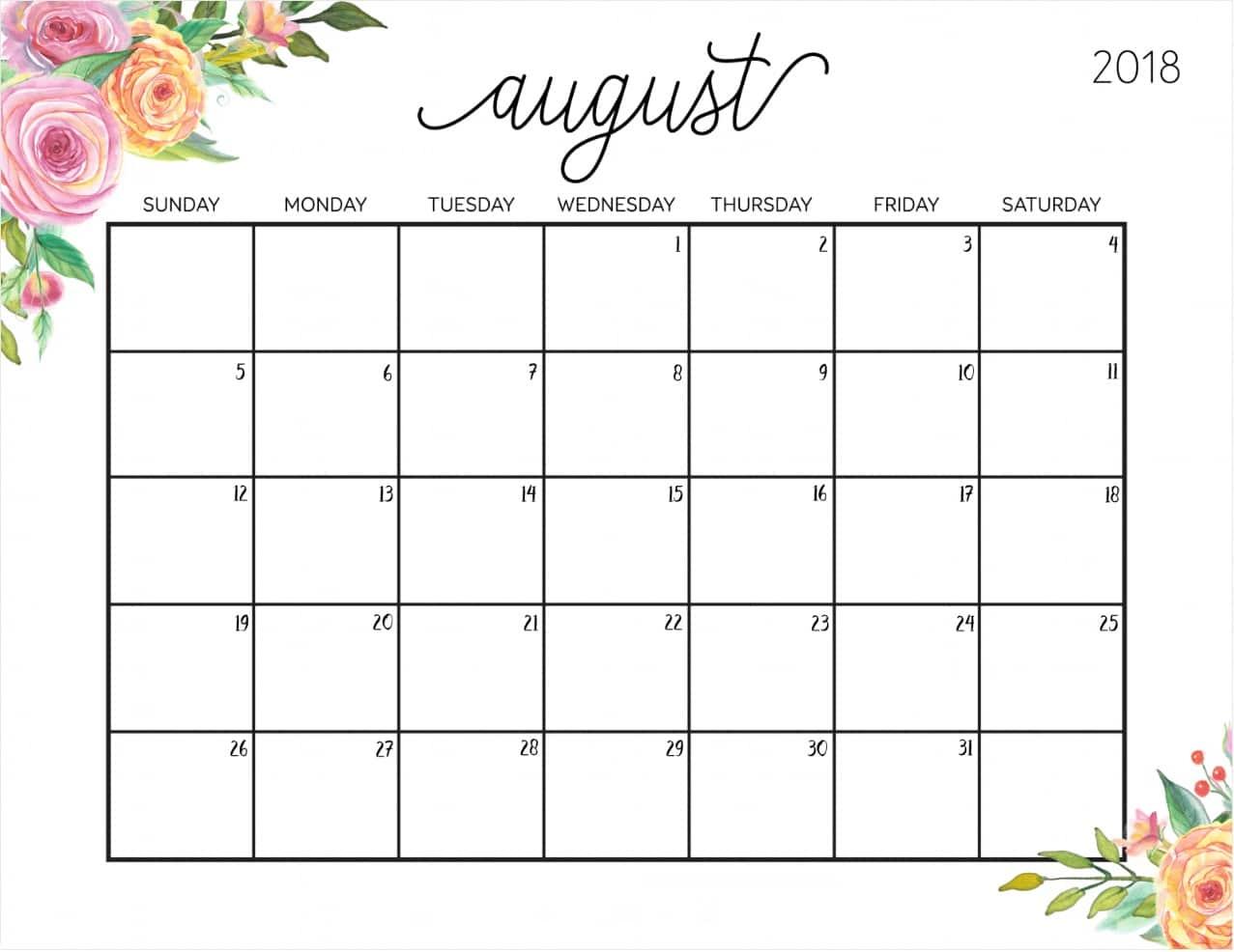 2018 August Calendar