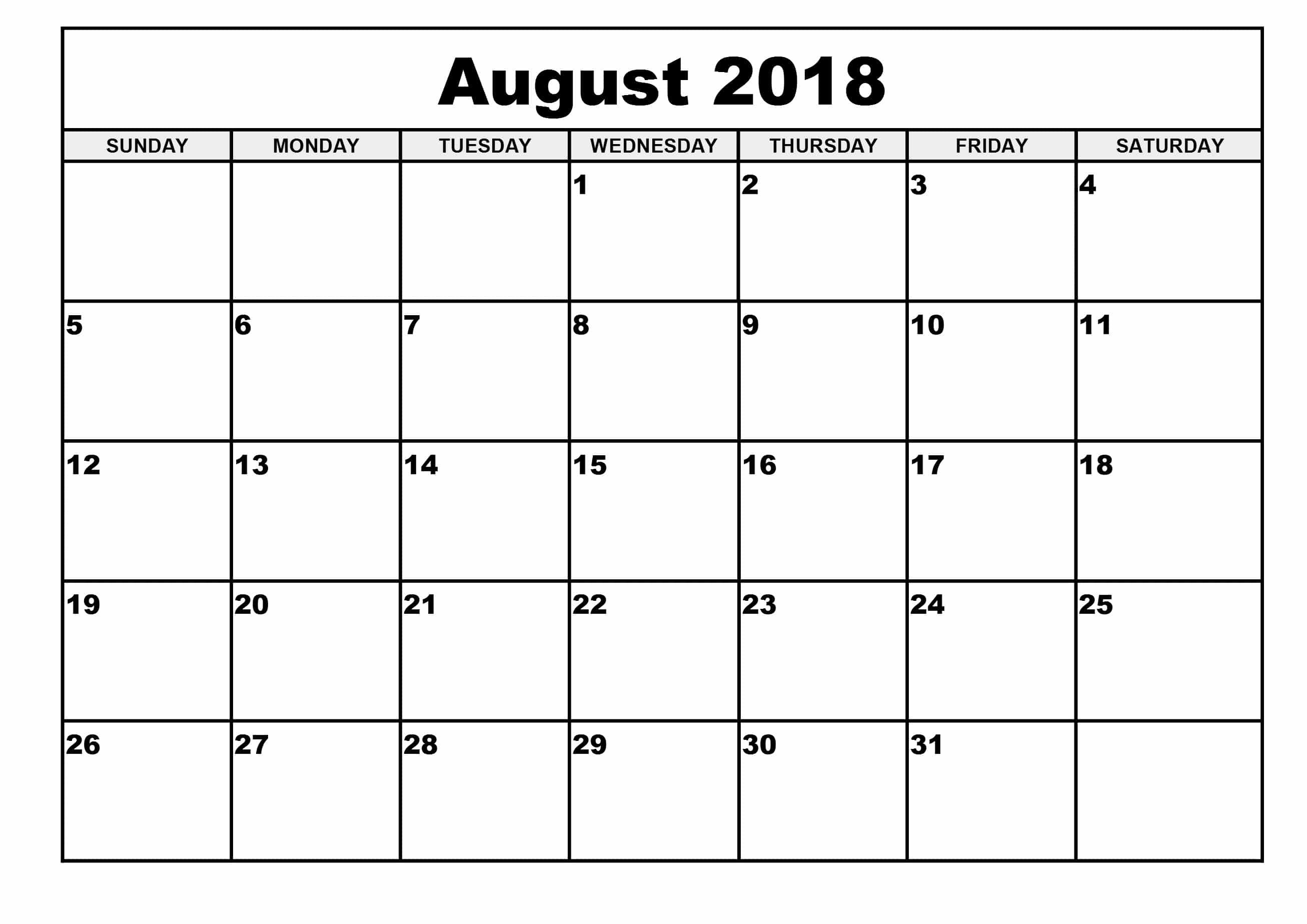 August Calendar 2018  Template