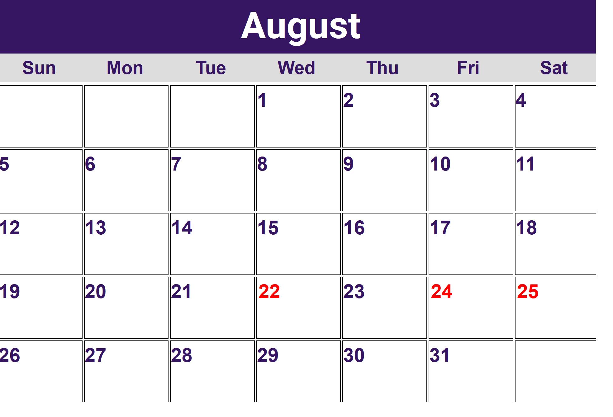 August Calendar 2018