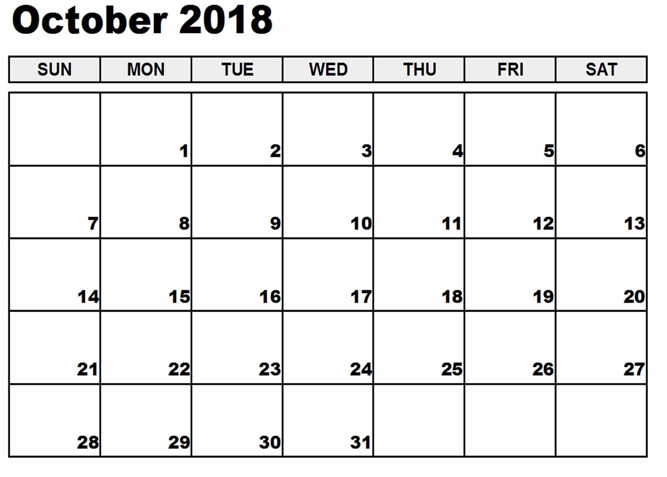 blank october 2018 calendar oyle kalakaari co