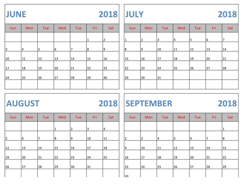 calendar july august 2018