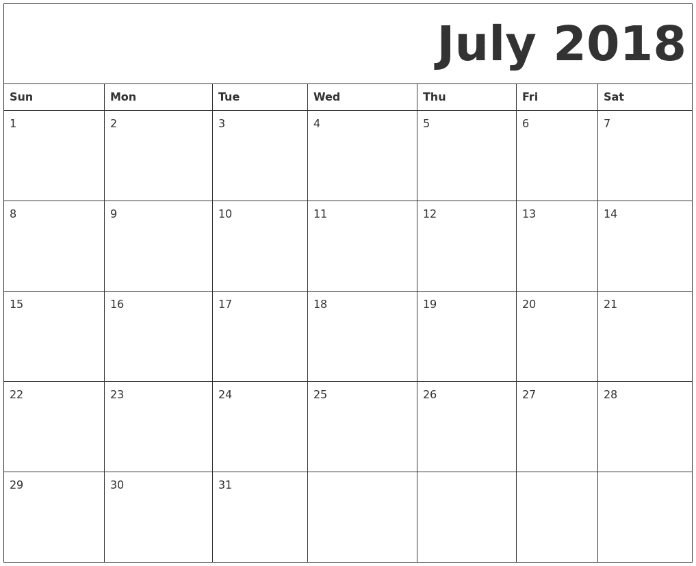 photo relating to Printable July Calendar named Free of charge Printable Calendar July 2018 -Landscape And Pdf